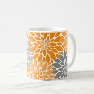 Orange and Gray Chrysanthemums Floral Pattern Coffee Mug