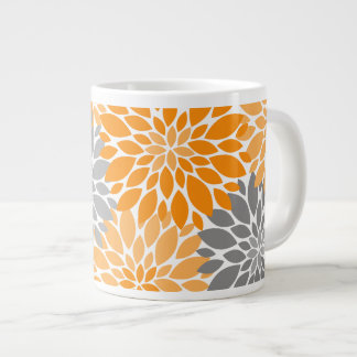 Orange and Gray Chrysanthemums Floral Pattern Large Coffee Mug
