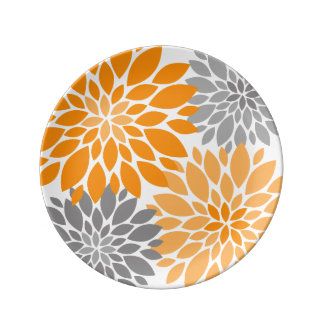 Orange and Gray Chrysanthemums Floral Pattern Porcelain Plate