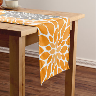 Orange and Gray Chrysanthemums Floral Pattern Short Table Runner