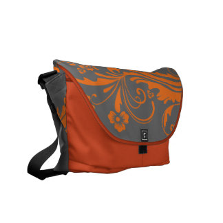 Orange and Gray Floral Chic Courier Bag