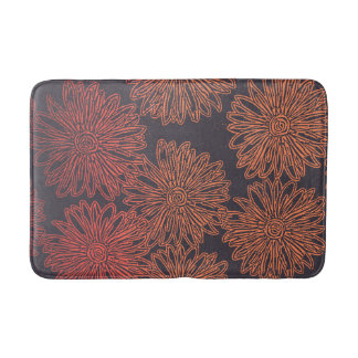 Orange and gray floral graphic bath mat