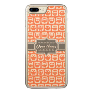 Orange and Gray Owl Name Carved iPhone 7 Plus Case