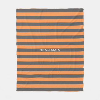 Orange and Gray Rugby Stripes with Custom Name Fleece Blanket