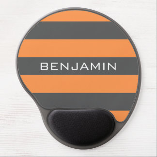 Orange and Gray Rugby Stripes with Custom Name Gel Mouse Mat