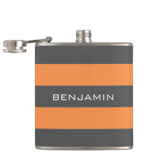 Orange and Gray Rugby Stripes with Custom Name Hip Flask