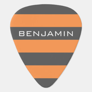 Orange and Gray Rugby Stripes with Custom Name Plectrum