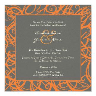 Orange and Gray Sketchy Frame Wedding Invitation