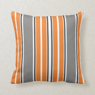 Orange and Gray Stripe Throw Pillows