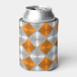 Orange and Gray with Silver Squares Can Cooler