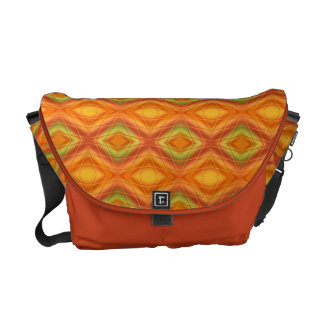 Orange And Green Abstract Pattern Messenger Bags