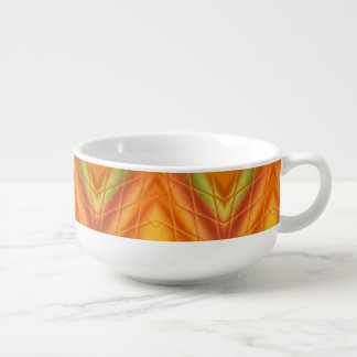 Orange And Green Abstract Pattern Soup Mug