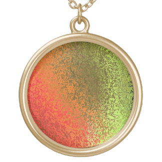 Orange and Green Abstract Shiny Round Necklace