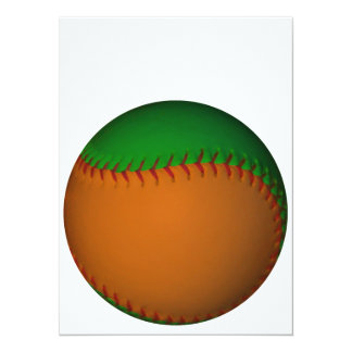 Orange and Green Baseball 14 Cm X 19 Cm Invitation Card