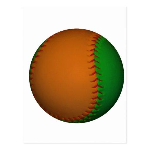 Orange and Green Baseball Postcard