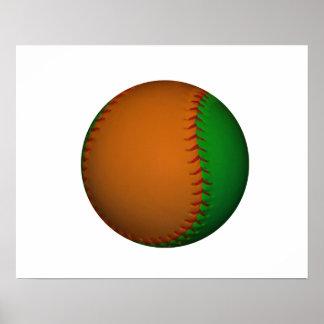 Orange and Green Baseball Poster