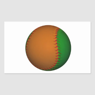 Orange and Green Baseball Sticker