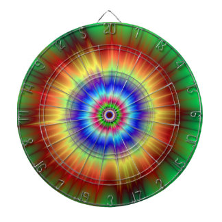 Orange and Green Color Explosion  Dartboard