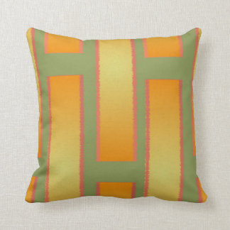 Orange and Green Cotton Reversible Pillow