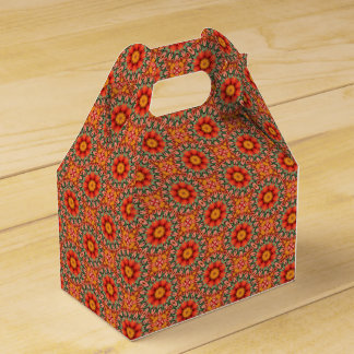 Orange And Green Floral Pattern Favour Box