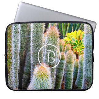 Orange and green fuzzy cacti photo custom monogram laptop sleeve