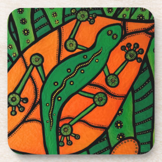 Orange And Green Gecko Coaster