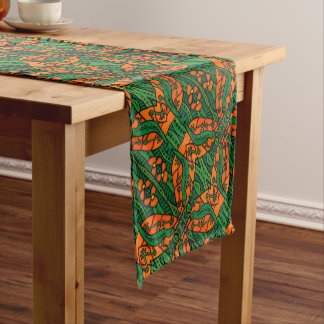 Orange And Green Gecko Lizard Pattern Short Table Runner