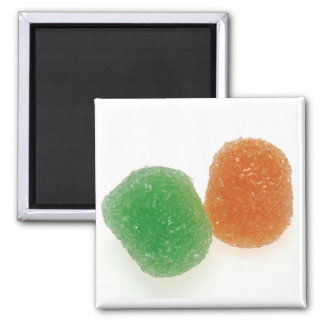 Orange and Green Gumdrops Square Magnet