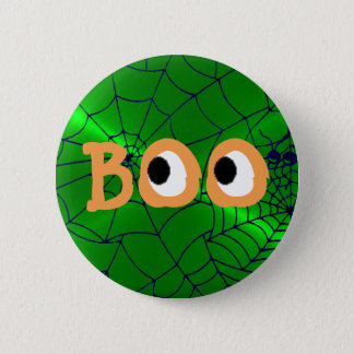 Orange and Green Halloween Boo Eyeballs Button
