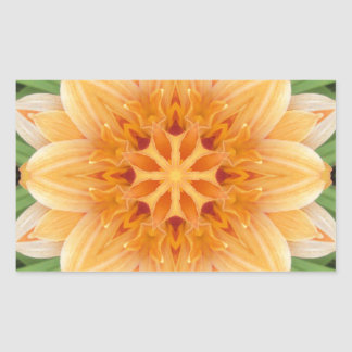 Orange and Green Kaleidoscope Flower Rectangular Sticker