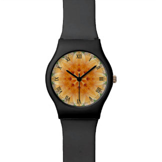 Orange and Green Kaleidoscope Flower Watch