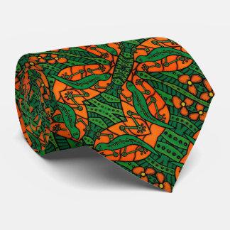 Orange And Green Lizard Pattern Tie
