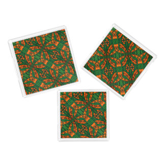 Orange And Green Lizards Gecko Pattern Acrylic Tray