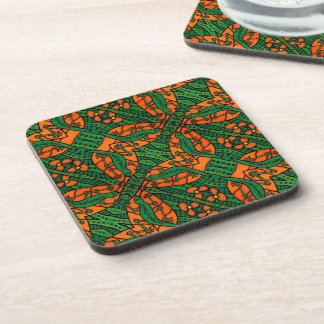 Orange And Green Lizards Gecko Pattern Coaster
