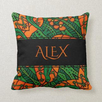 Orange And Green Lizards Gecko Pattern Custom Name Cushion