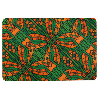 Orange And Green Lizards Gecko Pattern Floor Mat