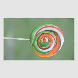Orange and green lollipop rectangle stickers