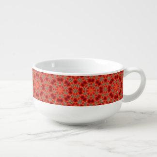 Orange and Green Mandala Pattern Soup Mug