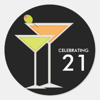 Orange and Green Martinis Round Sticker