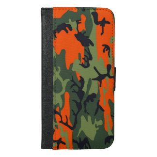 Orange and Green Military Camouflage Textures iPhone 6/6s Plus Wallet Case