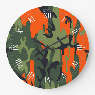 Orange and Green Military Camouflage Textures Large Clock