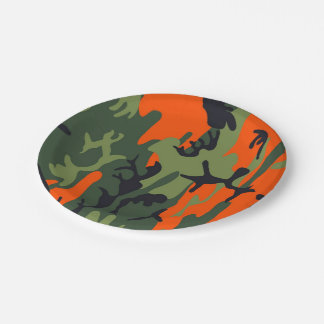 Orange and Green Military Camouflage Textures Paper Plate