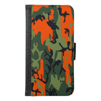 Orange and Green Military Camouflage Textures Samsung Galaxy S6 Wallet Case