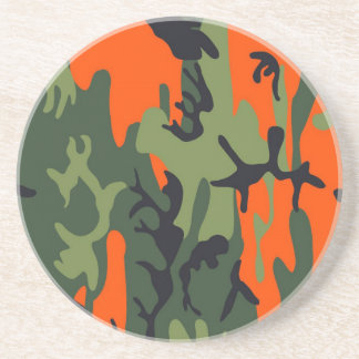 Orange and Green Military Camouflage Textures Sandstone Coaster