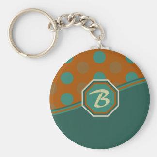Orange and Green Monogram Keychain