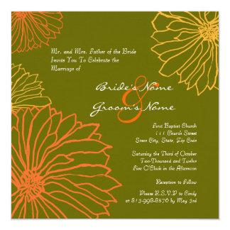 Orange and Green Mum Flowers Wedding Invitation