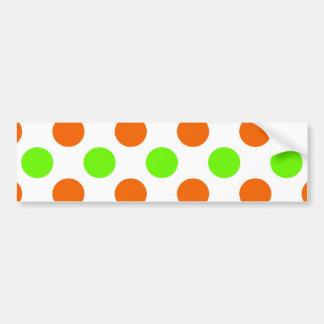 Orange and Green Polka Dots Bumper Sticker