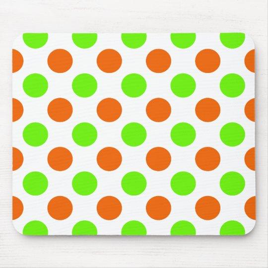 Orange and Green Polka Dots Mouse Mat