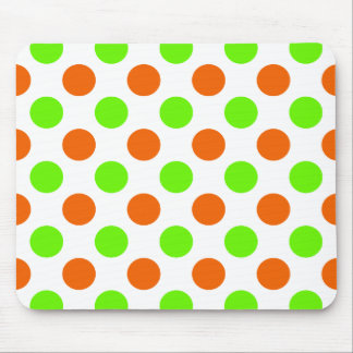 Orange and Green Polka Dots Mouse Pad