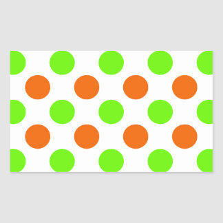 Orange and Green Polka Dots Rectangle Stickers